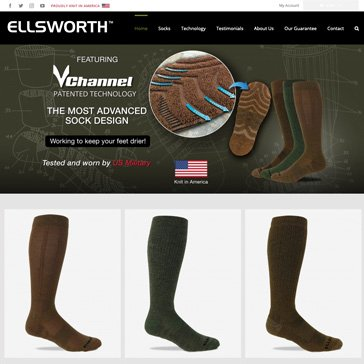 Ellsworth Socks Website by Root Marketing
