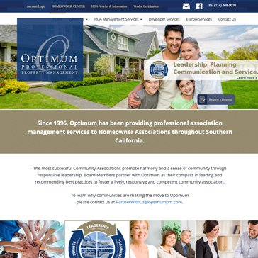 Optimum Property Management Website by Root Marketing
